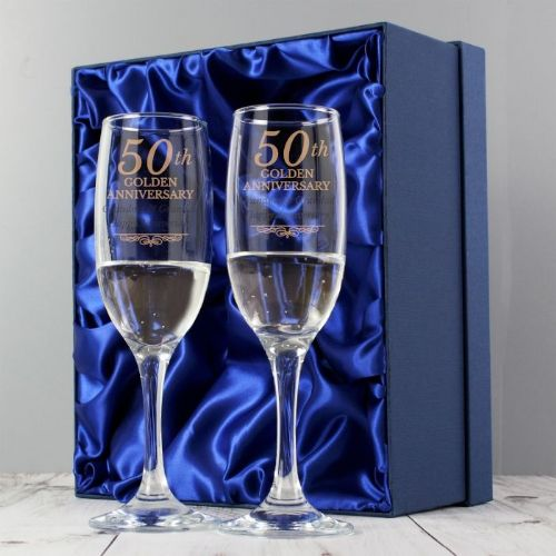 Personalised Golden Anniversary Pair of Flutes With Gift Box